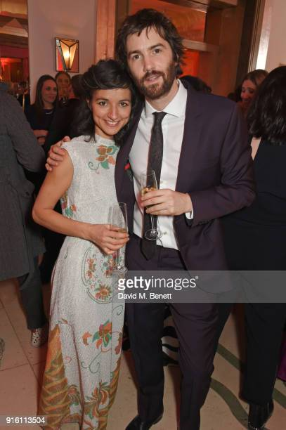 Dina Mousawi and Jim Sturgess attend a drinks reception at the London Evening Standard British Film Awards 2018 at Claridge's Hotel on February 8...