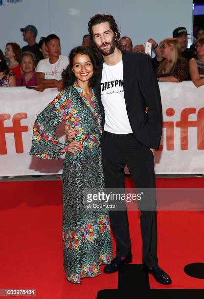 "Dina Mousawi and Jim Sturgess attend the premiere of ""Jeremiah Terminator LeRoy"" at Roy Thomson Hall on September 15, 2018 in Toronto, Canada."