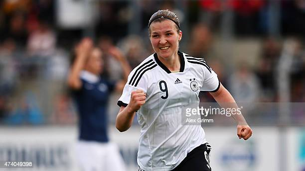 Dina Orschmann of Germany celebrates her team's first goal during the U17 girls international friendly match between germany and France at EWRArena...