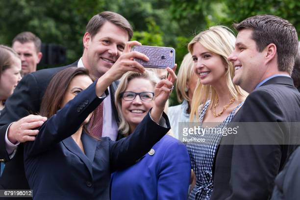 Dina Powell US Deputy National Security Advisor for Strategy and Ivanka Trump daughter and assistant to President Trump takes a selfie after...