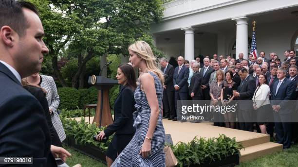 Dina Powell US Deputy National Security Advisor for Strategy and Ivanka Trump daughter and assistant to President Trump attended President Trump's...