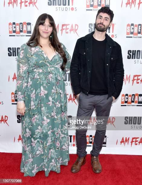 """Dina Silva and Pierre Tsigaridis attend the Los Angeles Premiere of Roxwell Films """"I Am Fear"""" at Laemmle Monica Film Center on February 20 2020 in..."""