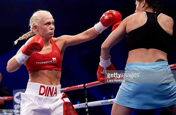 Dina Thorslund of Denmark fights Jasmina Nadj of Serbia in the Female Super Bantamweight during the Sauerland Promotion Boxing Ondt Blod Match at...