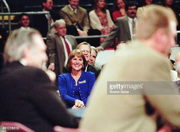 Dinah Bird wife of Larry Bird watches during his press conference at Market Square Arena on Monday May 12 1997