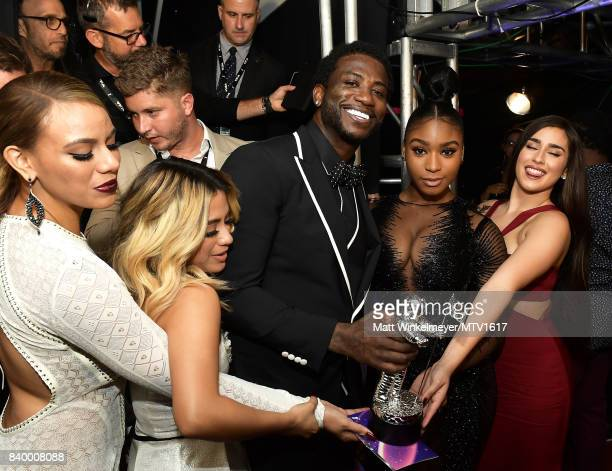 Dinah Jane Ally Brooke Normani Kordei and Lauren Jauregui of Fifth Harmony with Gucci Mane winners of the 'Best Pop' award pose backstage during the...
