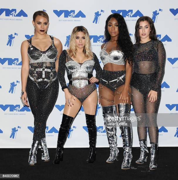 Dinah Jane Ally Brooke Normani Kordei and Lauren Jauregui of Fifth Harmony winners of Best Pop for 'Down' pose in the press room at the 2017 MTV...
