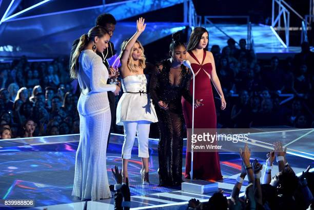 Dinah Jane and Ally Brooke of Fifth Harmony Gucci Mane Normani Kordei and Lauren Jauregui of Fifth Harmony accept the Best Pop award for 'Down'...