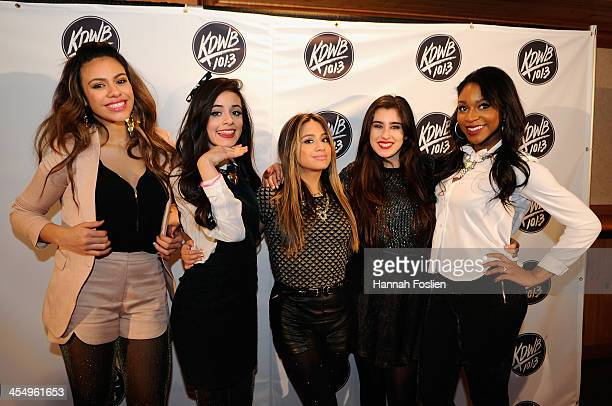 Dinah Jane Hansen Camila Cabello Ally Brooke Lauren Jauregui and Normani Kordei of Fifth Harmony pose backstage at 1013 KDWB's Jingle Ball 2013 at...