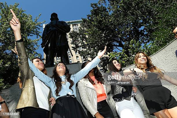 Dinah Jane Hansen Camila Cabello Normani Hamilton Lauren Jauregui and Ally Brooke Hernandez of Fifth Harmony visit Madison Square Park on August 5...