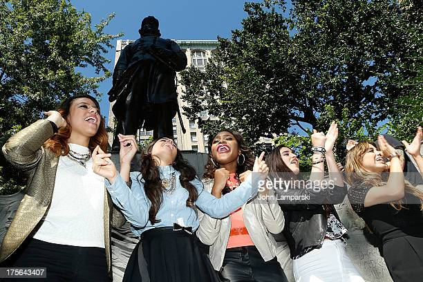 Dinah Jane Hansen Camila Cabello Normani Hamilton Lauren Jauregui and Ally Brooke Hernandez of Fifth Harmony visit Madison Square Park on August 5...
