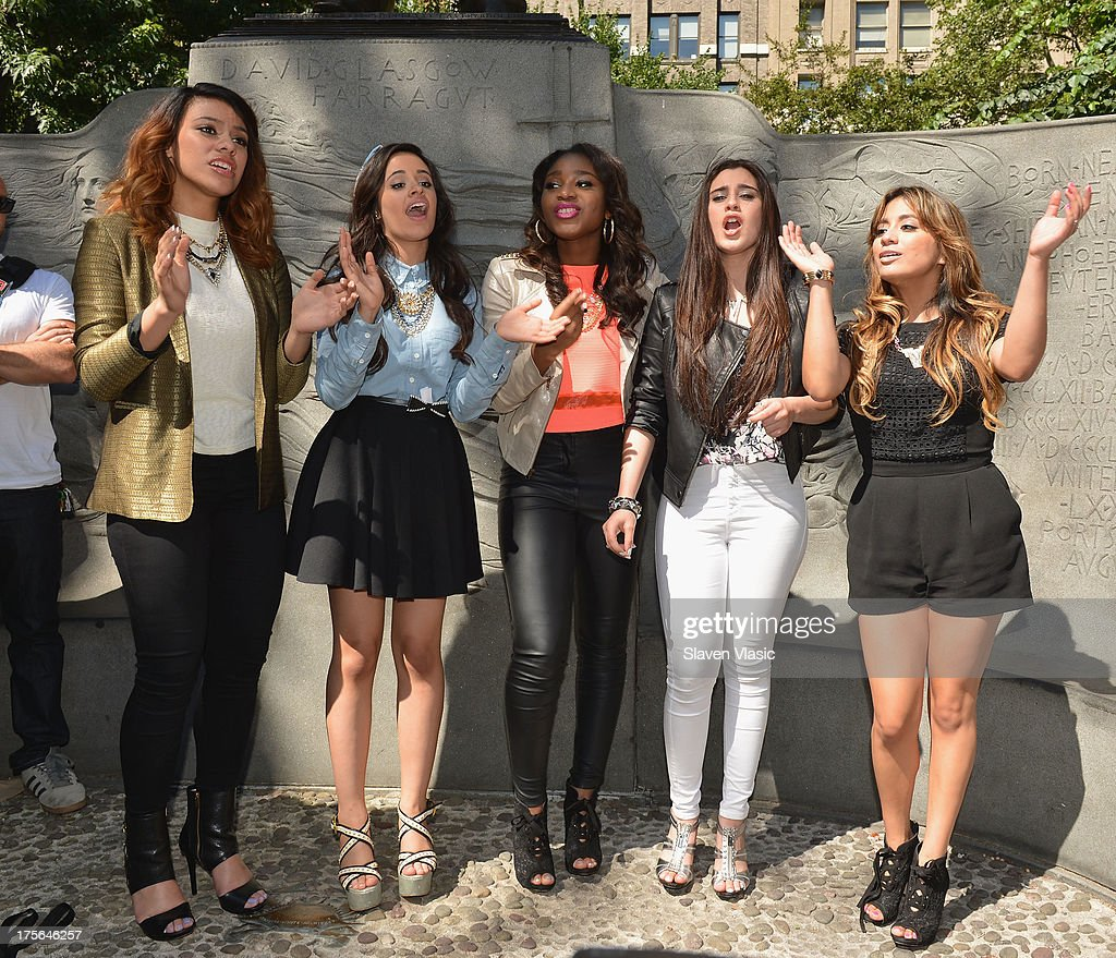 Dinah Jane Hansen, Camila Cabello, Normani Hamilton, Lauren Jauregui and Ally Brooke Hernandez of Fifth Harmony perform at Madison Square Park on August 5, 2013 in New York City.