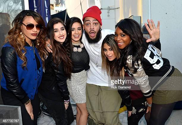 "Dinah Jane Hansen Lauren Jauregui Camila Cabello Travie McCoy Ally Brooke and Normani Kordei pose backstage at 933 FLZ's Jingle Ball ""PreShow Free..."