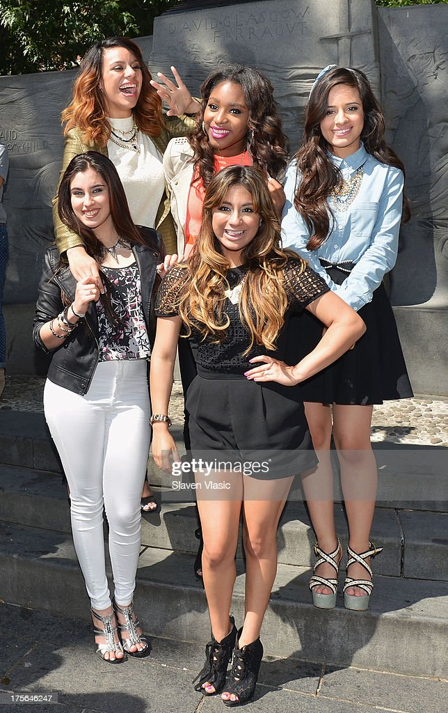 Dinah Jane Hansen, Normani Hamilton, Camila Cabello, (L-R Front) Lauren Jauregui and Ally Brooke Hernandez of Fifth Harmony visit Madison Square Park on August 5, 2013 in New York City.