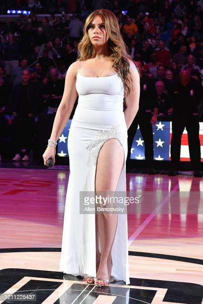 Dinah Jane sings the national anthem prior to a basketball game between the Los Angeles Clippers and the Los Angeles Lakers at Staples Center on...