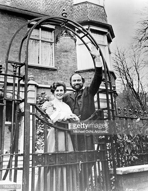 Dinah Sheridan and Iain Cuthbertson wave goodbye to their children in a scene from the film 'The Railway Children' 1970