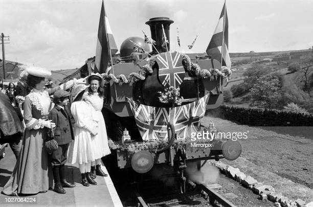 Dinah Sheridan Gary Warren Sally Thomsett and Jenny Agutter on the set of 'The Railway Children' at Oakworth West Yorkshire 20th May 1970