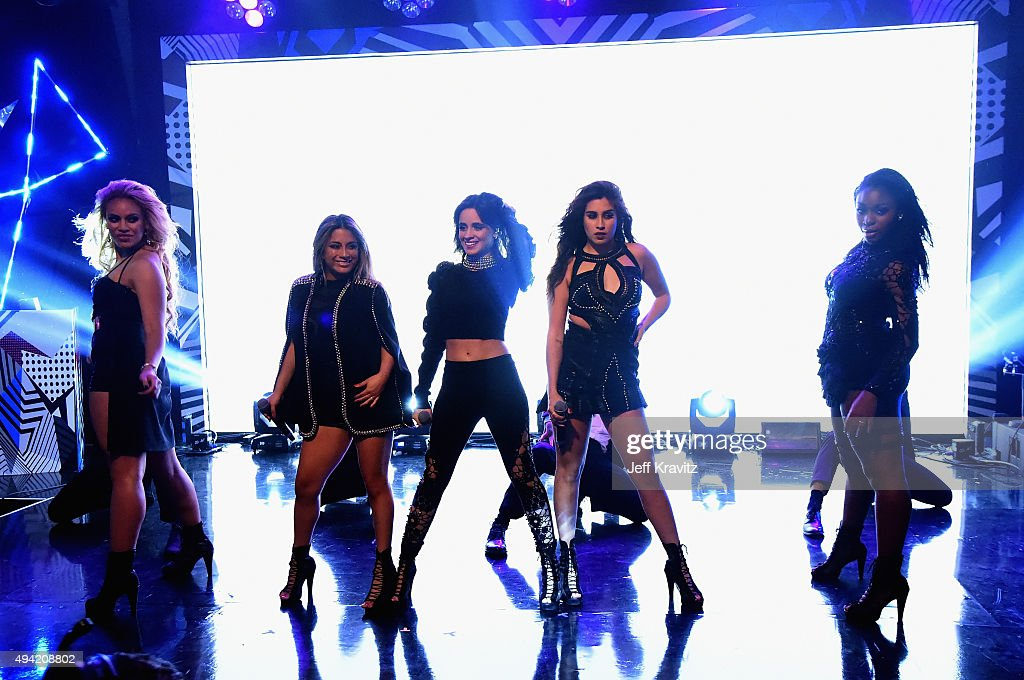 Dinah-Jane Hansen, Ally Brooke, Camila Cabello, Lauren Jauregui and Normani Kordei of Fifth Harmony perform on thre red carpet at the MTV EMA's 2015 at Mediolanum Forum on October 25, 2015 in Milan, Italy.