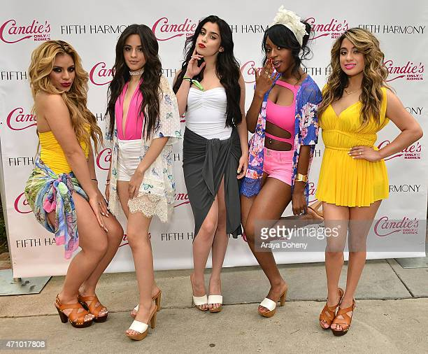 DinahJane Hansen Camila Cabello Lauren Jauregui Normani Kordei and Ally Brooke of Fifth Harmony attend the Fifth Harmony Pool Party/Press Conference...
