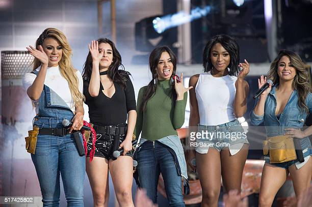 DinahJane Hansen Lauren Jauregui Camila Cabello Normani Hamilton Ally Brooke of 'Fifth Harmony' are seen at 'Jimmy Kimmel Live' on March 24 2016 in...