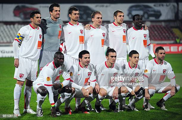 Dinamo Bucharest players pose prior to the kickoff of the UEFA Europa League football match against Galatasaray in Bucharest on November 5 2009...