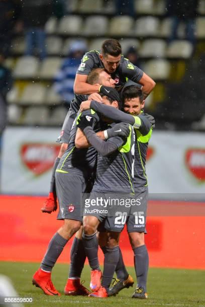 Dinamo Bucharest's celebration with Diogo Salomao Ferreira Adam Nemec Paul Anton Steliano Filip during Football Romania League 1 Stage 21 match...