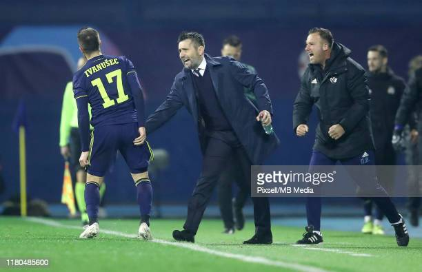 Dinamo Zagreb team manager Nenad Bjelica and Luka Ivanusec during the UEFA Champions League group C match between Dinamo Zagreb and Shakhtar Donetsk...