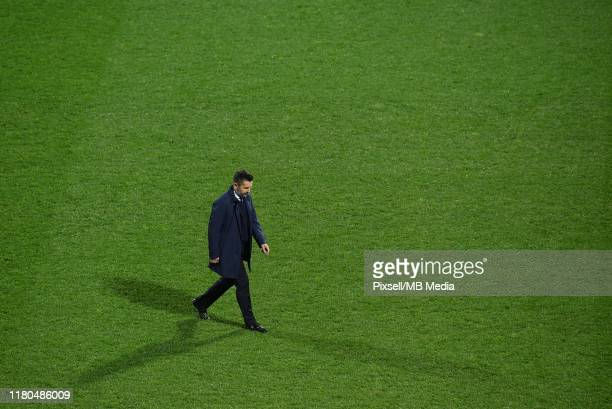 Dinamo Zagreb team manager Nenad Bjelica reacts after the UEFA Champions League group C match between Dinamo Zagreb and Shakhtar Donetsk at Maksimir...