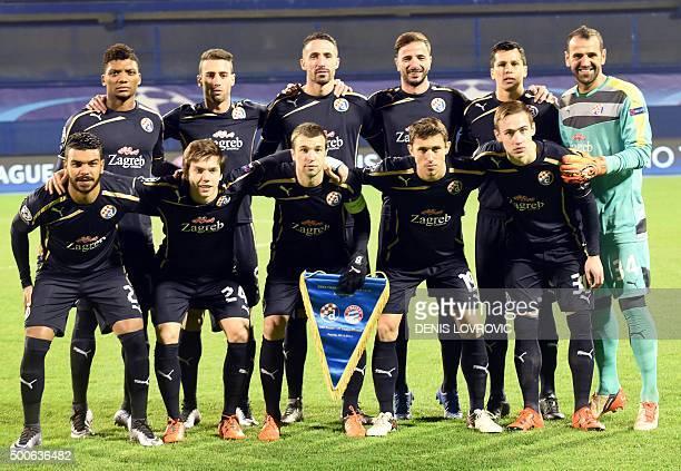 Dinamo Zagreb's Chilean forward Junior Fernandes Portuguese defender Ivo Pinto French defender Jeremy Taravel Portuguese midfielder Goncalo Santos...
