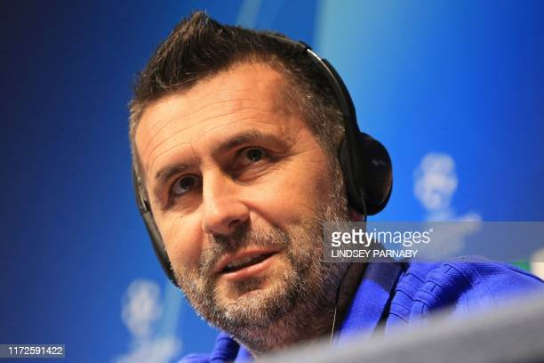 Dinamo Zagreb's Croatian coach Nenad Bjelica attends a press conference at the Etihad Stadium in Manchester north west England on September 30 2019...