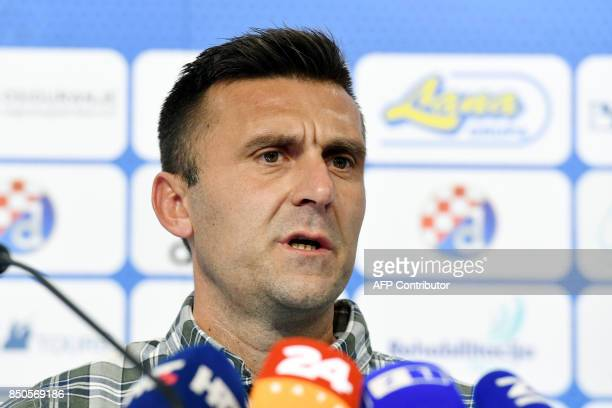 Dinamo Zagreb's head coach Mario Cvitanovic speaks during a press conference in Zagreb on September 21 2017 after being beaten by two masked...