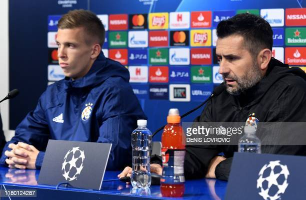 Dinamo Zagreb's headcoach Nenad Bjelica and Spain's midfielder Dani Olmo attend at a press conference at the Maksimir stadium in Zagreb on November 5...