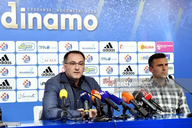Dinamo Zagreb's security director Kresimir Antolic and head coach Mario Cvitanovic speaks during a press conference in Zagreb on September 21 2017...