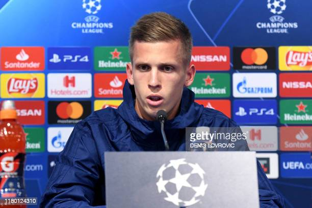 Dinamo Zagreb's Spain's midfielder Dani Olmo attends at a press conference at the Maksimir stadium in Zagreb on November 5 on the eve of the UEFA...