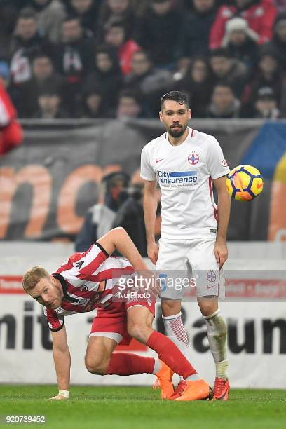 Dinamo's Adam Nemec left vs Steaua's Valerica Gaman during the Stage 25 of the Romanian First League Football match between Steaua Bucharest and...