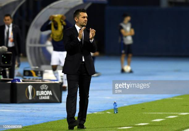 Dinamo's head coach Nenad Bjelica reacts from the touchline during the Europa League Group D match between Dinamo Zagreb and Fenerbahce at The...