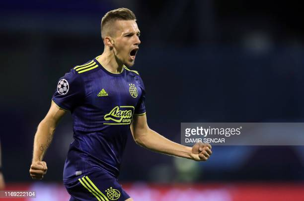 Dinamo's Mislav Orsic celebrates after scoring his second goal during the UEFA Champions League Group C football match GNK Dinamo vs Atalanta BC in...