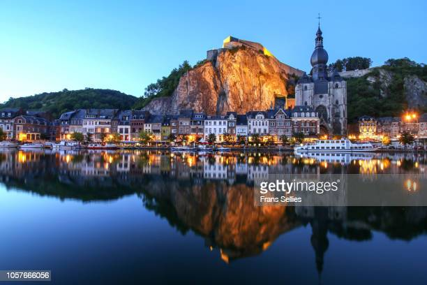 dinant, the citadel, the cathedral and the meuse, belgium - ナミュール州 ストックフォトと画像