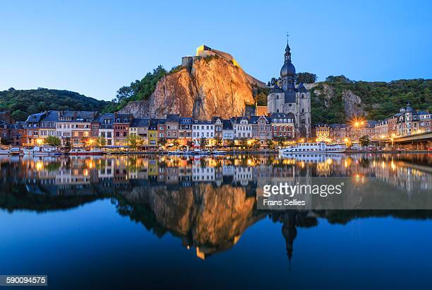 dinant, the citadel, the cathedral and the meuse - frans sellies stockfoto's en -beelden