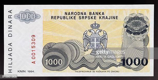 1000 dinar banknote reverse twoheaded eagle coat of arms Republic of Serbian Krajina in Croatia 20th century