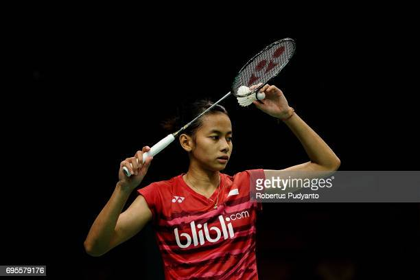 Dinar Dyah Ayustine of Indonesia competes against Sung Ji Hyun of Korea during Womens Single Round 1 match of the BCA Indonesia Open 2017 at Plenary...