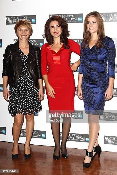 Dinara Drukarova, Lucia Siposova and Gabriela Marcinkova attend the photocall for European '360', at The 55th BFI London Film Festival at Vue West...