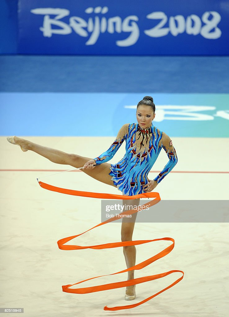 Dinara Gimatova of Azerbaijan competes in the individual all-around qualification of the rhythmic gymnastics at the Beijing 2008 Olympic Games in Beijing on August 22, 2008. in Beijing, China.