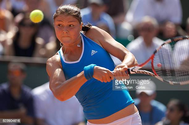 'Dinara Safin on her way to a 60 60 victory over Anne Keothavong of Great Britain in the first round of the French Open Tennis Tournament at Roland...