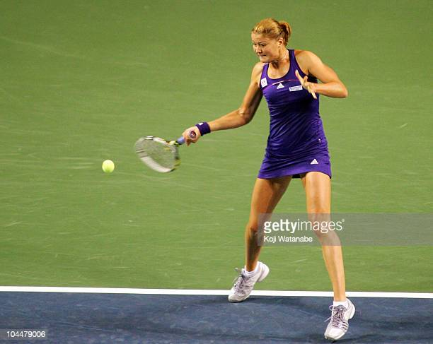 Dinara Safina of Russia a forehand in her match against Julia Goerges of Germany on day two of the Toray Pan Pacific Open at Ariake Colosseum on...