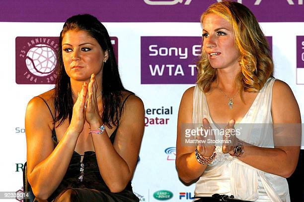 Dinara Safina of Russia and Svetlana Kuznetsova of Russia talk during the draw ceremony for the Sony Ericsson WTA Championships at the Museum of...