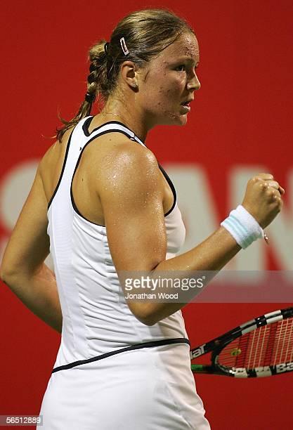 Dinara Safina of Russia celebrates a point during her match against Iveta Benesova of the Czech Republic during the WTA Mondial Australian Women's...