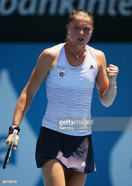 Dinara Safina of Russia celebrates a point in her second round match against Agnieszka Radwanska of Poland during day three of the 2010 Medibank...
