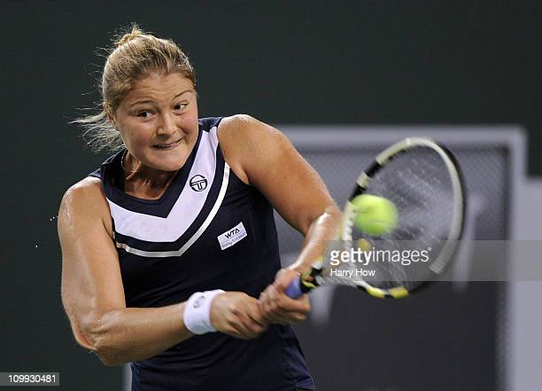 Dinara Safina of Russia hits a backhand in her match against Arantxa Parra Santonja of Spain during the BNP Paribas Open at the Indian Wells Tennis...