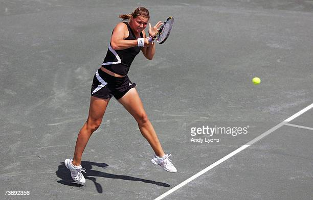 Dinara Safina of Russia hits a return in her 2626 loss to Jelena Jankovic of Serbia in the final of the Family Circle Cup at the Family Circle Tennis...