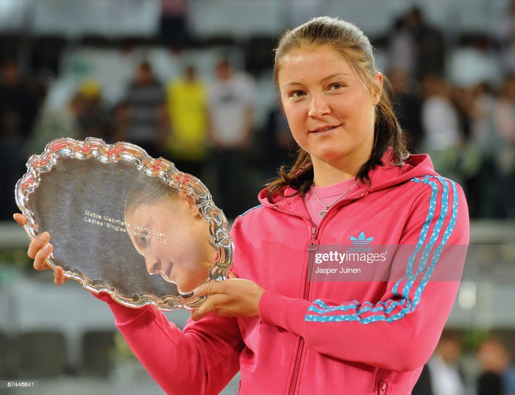 Dinara Safina of Russia holds aloft the winners trophy after her straight set victory against Caroline Wozniacki of Denmark during the final of the Madrid Open tennis tournament at the Caja Magica on May 17, 2009 in Madrid, Spain. Safina won the match in two sets, 6-2 and 6-4.